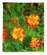 Painted Lady Butterfly In The Marigolds  Fleece Blanket