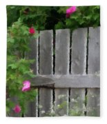 Painterly Fence And Roses Fleece Blanket