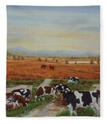 Painting Cows On Cors Caron Tregaron Fleece Blanket