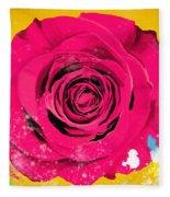 Painting Of Single Rose Fleece Blanket