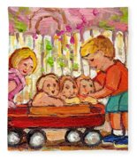 Paintings For Children - Boy - Girl - Red Wagon And Puppies Fleece Blanket