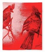 Pair Of Cardinals Fleece Blanket