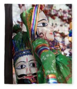 Pair Of Large Puppets At The Surajkund Mela Fleece Blanket