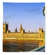 Palace Of Westminster From Bridge Fleece Blanket
