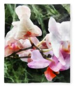 Pale Pink Phalaenopsis Orchids Fleece Blanket