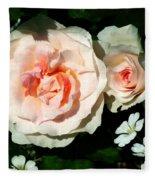Pale Pink Roses In Garden Fleece Blanket