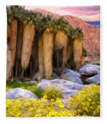 Palm Oasis And Wildflowers Fleece Blanket