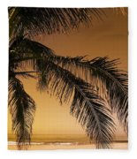 Palm Tree And Sunset In Mexico Fleece Blanket