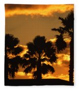 Palm Trees In Sunrise Fleece Blanket