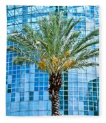 Palme Tree And Blue Building Fleece Blanket