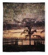 Palms And Docks Fleece Blanket
