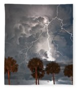Palms And Lightning  Fleece Blanket