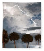 Palms And Lightning 3 Fleece Blanket