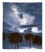 Palms And Lightning 4 Fleece Blanket