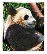 Panda In Tree Fleece Blanket