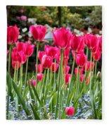 Panel Of Pink Tulips Fleece Blanket