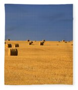 Panoramic Of A Straw Field, Near Val Fleece Blanket