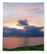Panoramic View From Dunluce Castle Fleece Blanket