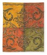 Paprika Scroll Fleece Blanket