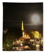 Paris At Night Fleece Blanket