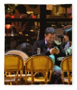 Paris At Night In The Cafe Fleece Blanket