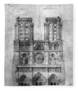 Paris: Notre Dame, 1848 Fleece Blanket
