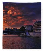 Paris Sundown Fleece Blanket