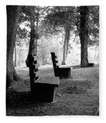 Park Bench In Black And White Fleece Blanket