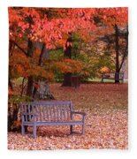 Park Bench In Fall Fleece Blanket