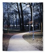 Park Path At Dusk Fleece Blanket