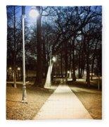 Park Path At Night Fleece Blanket