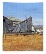 Partial Fallen Barn  Fleece Blanket