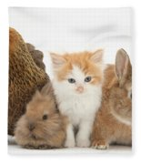 Partridge Pekin Bantam With Kitten Fleece Blanket