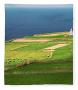 Pastures And Lighthouse Fleece Blanket