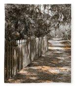 Path Along The Fence Fleece Blanket