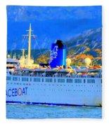 Peace Boat Along South America Coastline Fleece Blanket