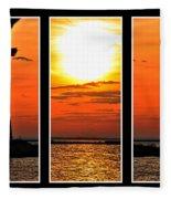 Peaceful Sunset Triptych Series Fleece Blanket