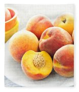Peaches On Plate Fleece Blanket