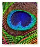 Peacock Feather Close Up Fleece Blanket