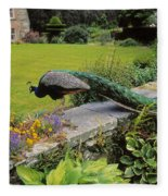 Peacock In Formal Garden, Kilmokea, Co Fleece Blanket
