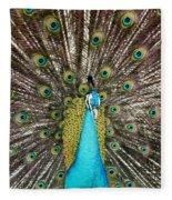 Peacock Plumage Feathers Fleece Blanket