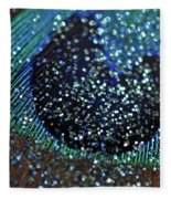 Peacock With Bling Fleece Blanket