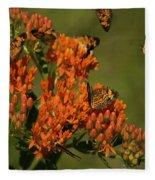 Pearly Crescentpot Butterflies Landing On Butterfly Milkweed Fleece Blanket