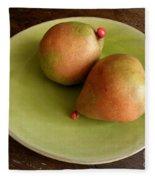 Pears On Heart Plate Fleece Blanket