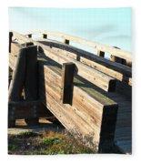 Pedestrian Bridge At Martinez Regional Shoreline Park In Martinez California . 7d10513 Fleece Blanket