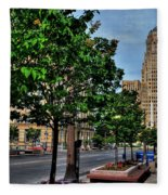 Pedestrian View Of City Hall Horizontal  Fleece Blanket