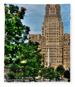 Pedestrian View Of City Hall Vert Fleece Blanket