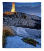 Peggys Cove Lighthouse Nova Scotia Fleece Blanket