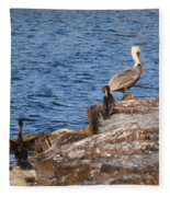 Pelican And Cormorants Fleece Blanket
