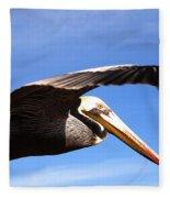 Pelican In Flight Fleece Blanket